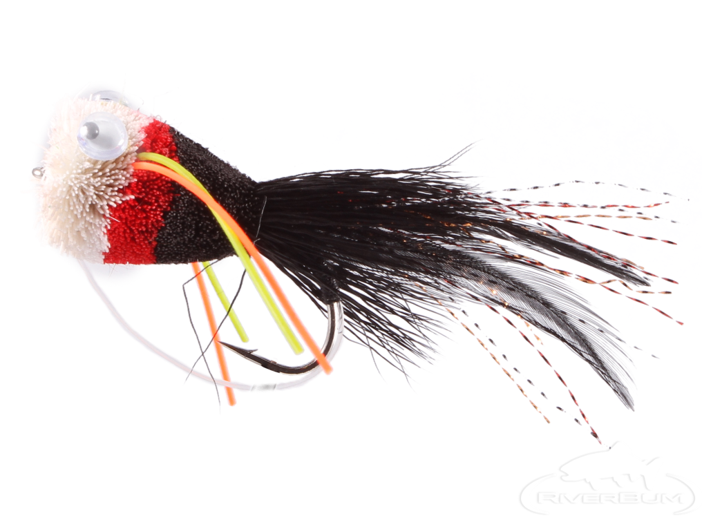Bass Popper, Deer Hair, Black-Red