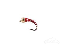 Zebra Midge, Tungsten Bead, Red/Silver, Gold Bead