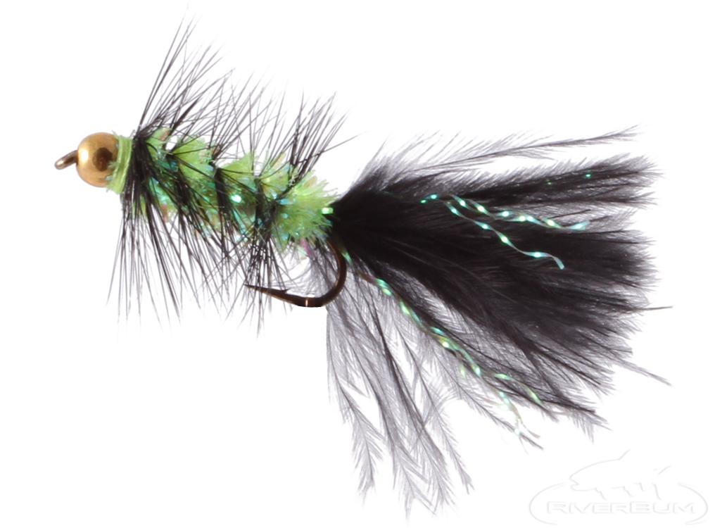 Krystal Flash Bugger, Bead Head, Black/Chartreuse Body